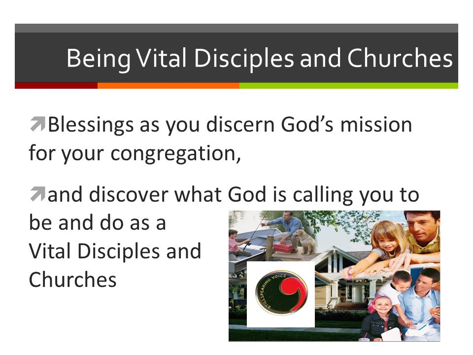Being Vital Disciples and Churches Blessings as you discern Gods mission for your congregation, and discover what God is calling you to be and do as a Vital Disciples and Churches