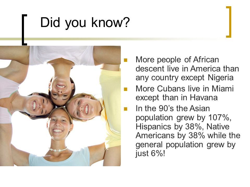 Did you know? More people of African descent live in America than any country except Nigeria More Cubans live in Miami except than in Havana In the 90