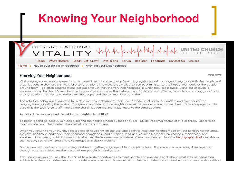 Knowing Your Neighborhood