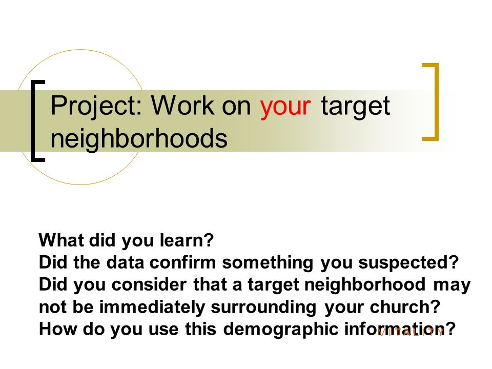 Project: Work on your target neighborhoods What did you learn? Did the data confirm something you suspected? Did you consider that a target neighborho