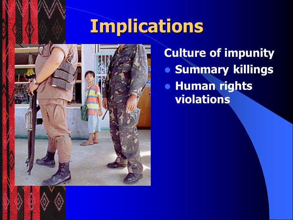 Implications Ethnocide The sum effect of policies and programs that erode cultural integrity and identity of indigenous populations