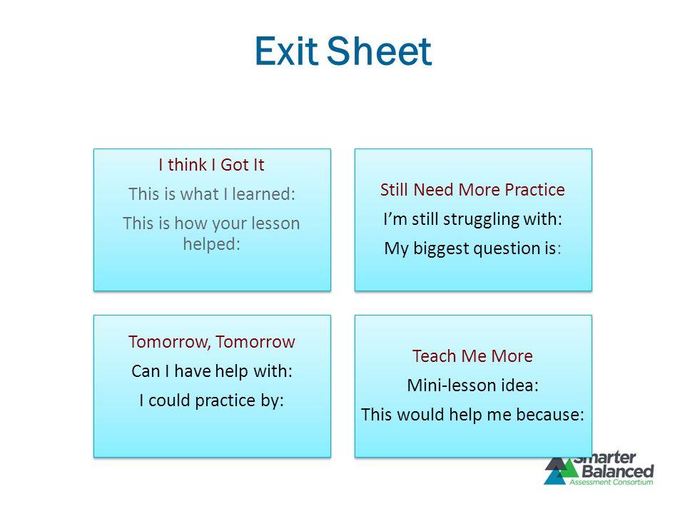 Exit Sheet