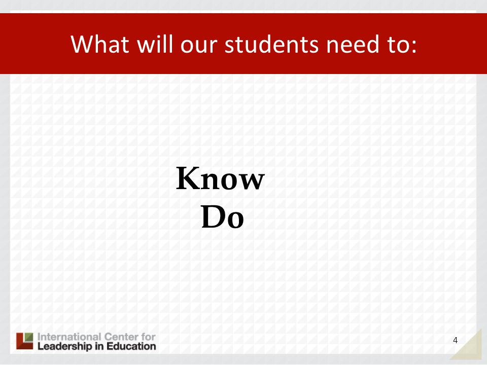 What will our students need to: Know Do 4