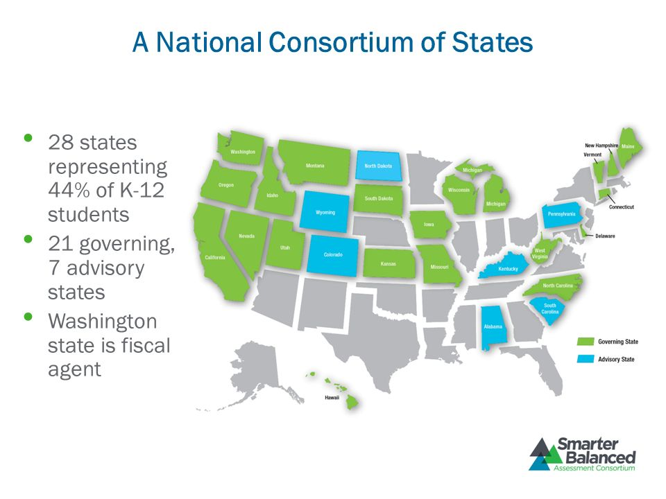 A National Consortium of States 28 states representing 44% of K-12 students 21 governing, 7 advisory states Washington state is fiscal agent
