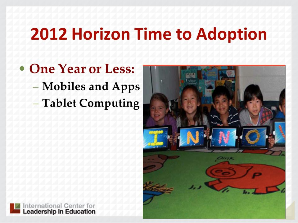 2012 Horizon Time to Adoption One Year or Less: –Mobiles and Apps –Tablet Computing 58