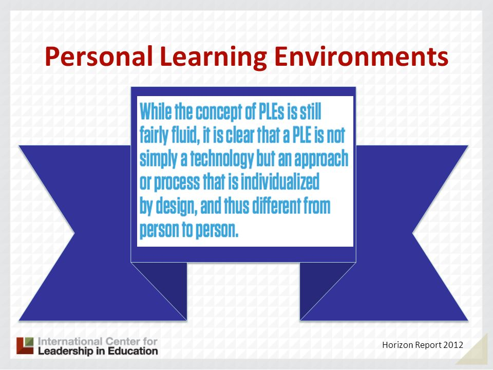 Personal Learning Environments Horizon Report 2012