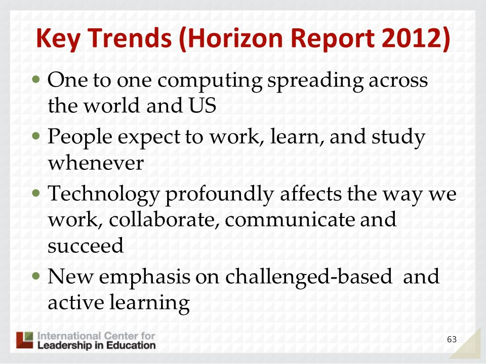 Key Trends (Horizon Report 2012) One to one computing spreading across the world and US People expect to work, learn, and study whenever Technology pr