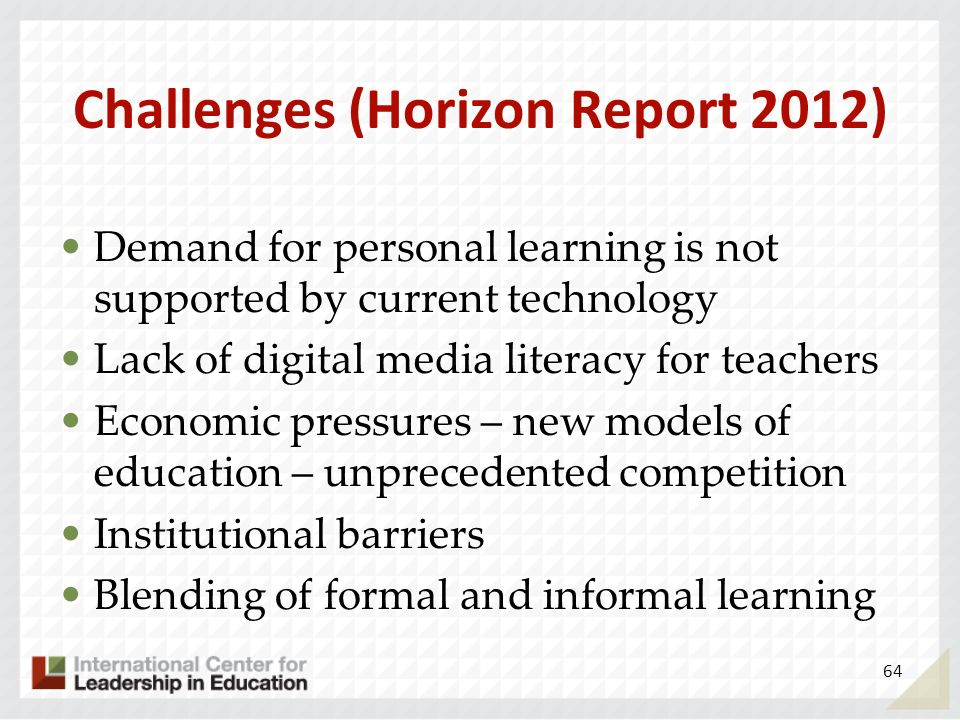 Challenges (Horizon Report 2012) Demand for personal learning is not supported by current technology Lack of digital media literacy for teachers Econo