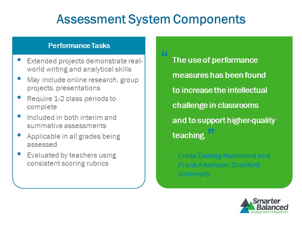 Assessment System Components Extended projects demonstrate real- world writing and analytical skills May include online research, group projects, pres