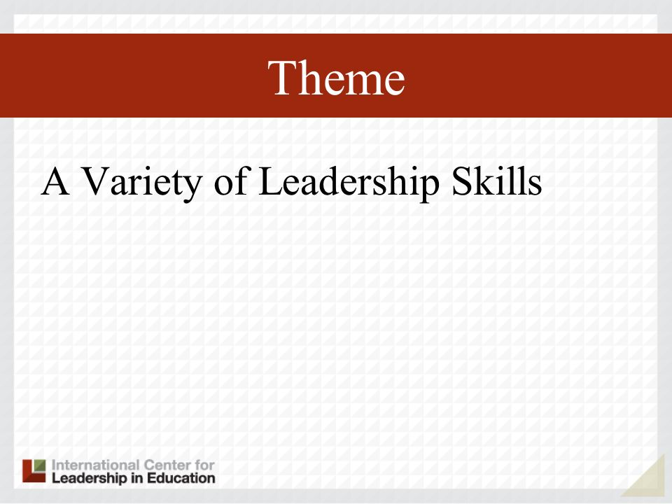 Theme A Variety of Leadership Skills
