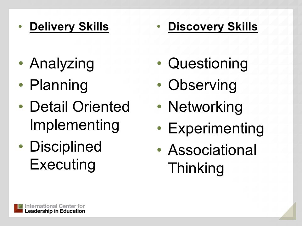 Delivery Skills Analyzing Planning Detail Oriented Implementing Disciplined Executing Discovery Skills Questioning Observing Networking Experimenting Associational Thinking