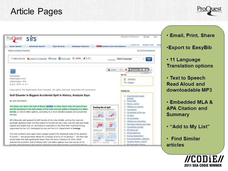 Article Pages Email, Print, Share Export to EasyBib 11 Language Translation options Text to Speech Read Aloud and downloadable MP3 Embedded MLA & APA Citation and Summary Add to My List Find Similar articles