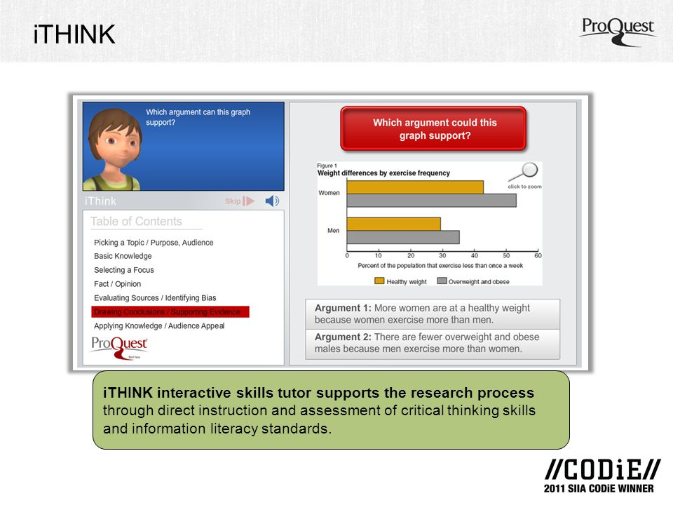 iTHINK iTHINK interactive skills tutor supports the research process through direct instruction and assessment of critical thinking skills and information literacy standards.