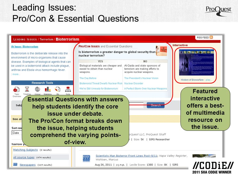 Leading Issues: Pro/Con & Essential Questions Essential Questions with answers help students identify the core issue under debate.