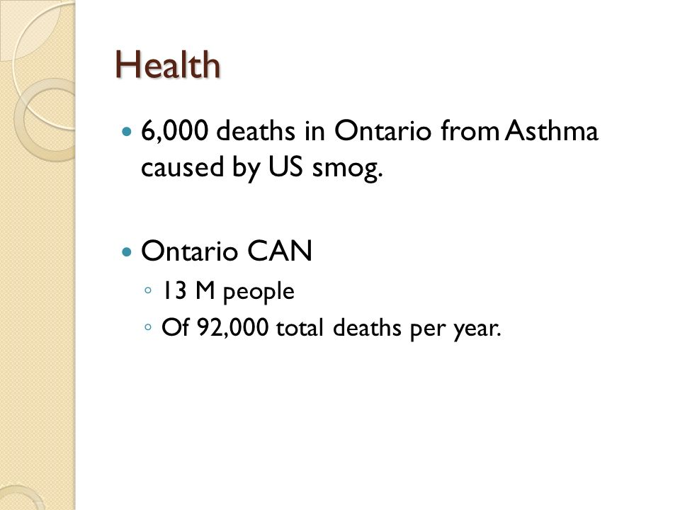 Health 6,000 deaths in Ontario from Asthma caused by US smog.