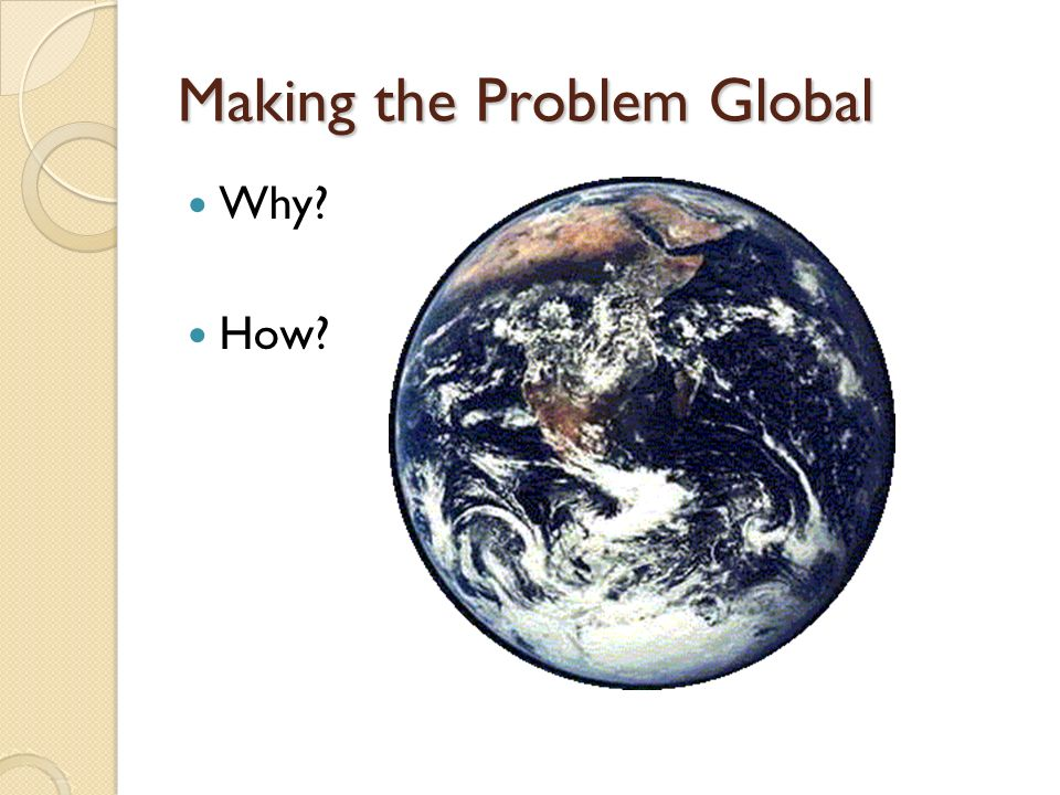 Making the Problem Global Why How