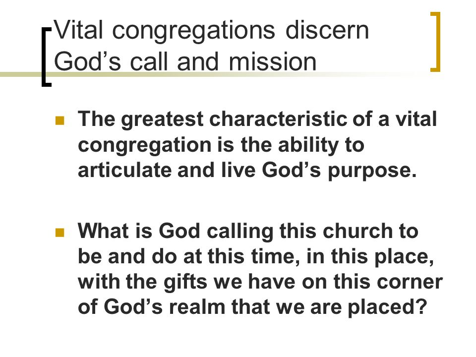 Vital congregations discern Gods call and mission The greatest characteristic of a vital congregation is the ability to articulate and live Gods purpose.