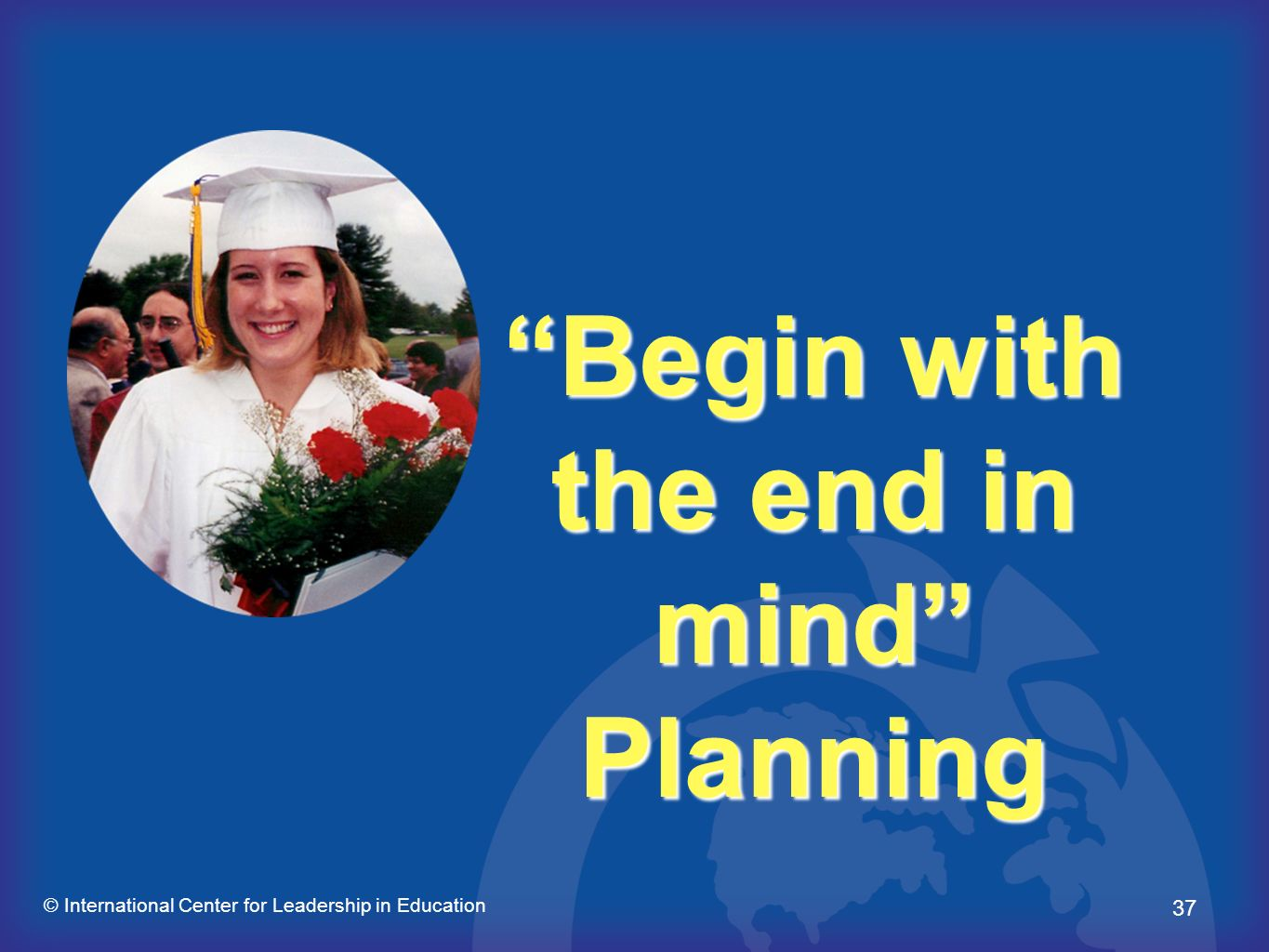 37 © International Center for Leadership in Education Begin with the end in mind Planning