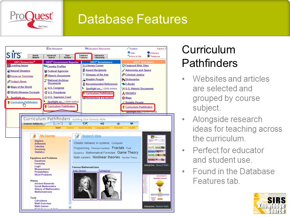 Database Features Websites and articles are selected and grouped by course subject. Alongside research ideas for teaching across the curriculum. Perfe