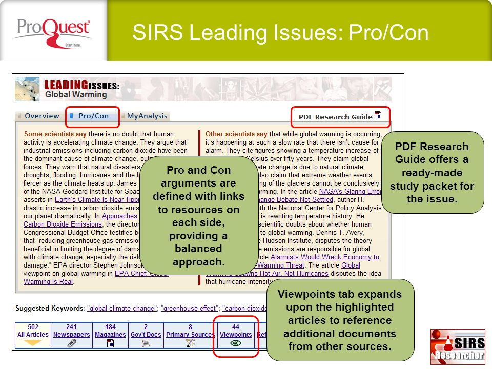 SIRS Leading Issues: Pro/Con PDF Research Guide offers a ready-made study packet for the issue. Pro and Con arguments are defined with links to resour