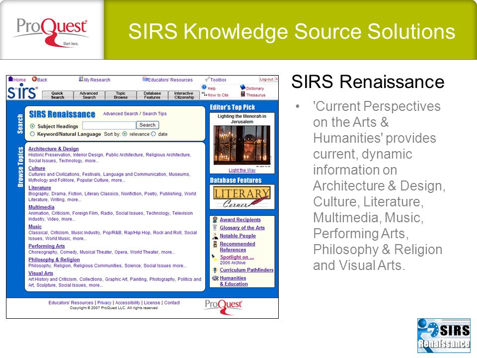 SIRS Knowledge Source Solutions 'Current Perspectives on the Arts & Humanities' provides current, dynamic information on Architecture & Design, Cultur