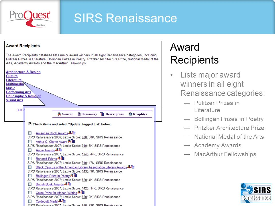 SIRS Renaissance Lists major award winners in all eight Renaissance categories: Pulitzer Prizes in Literature Bollingen Prizes in Poetry Pritzker Arch