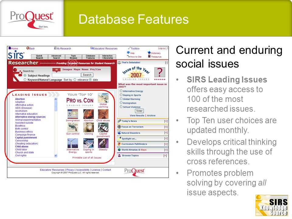 Database Features Top national and global headline news stories are dynamically updated delivering late breaking news.