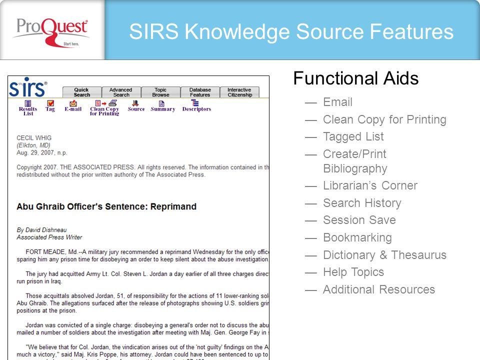 SIRS Knowledge Source Features Email Clean Copy for Printing Tagged List Create/Print Bibliography Librarians Corner Search History Session Save Bookm