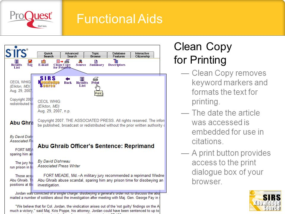Functional Aids Clean Copy removes keyword markers and formats the text for printing. The date the article was accessed is embedded for use in citatio