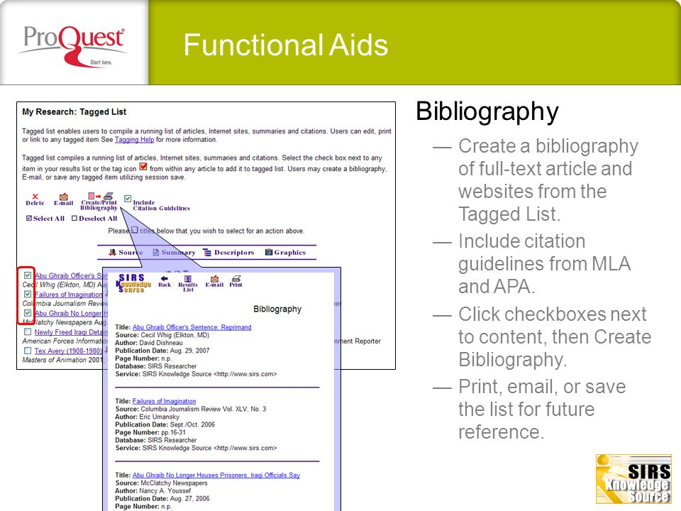 Functional Aids Create a bibliography of full-text article and websites from the Tagged List. Include citation guidelines from MLA and APA. Click chec