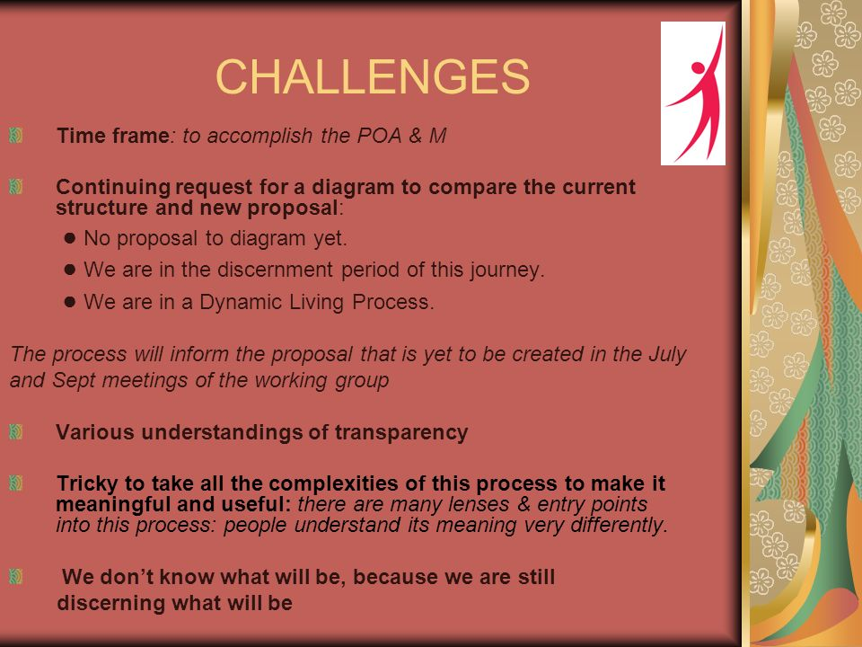 CHALLENGES Time frame: to accomplish the POA & M Continuing request for a diagram to compare the current structure and new proposal: No proposal to diagram yet.