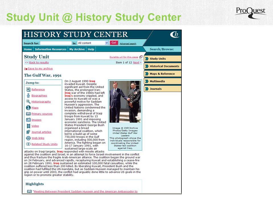 Study Unit @ History Study Center