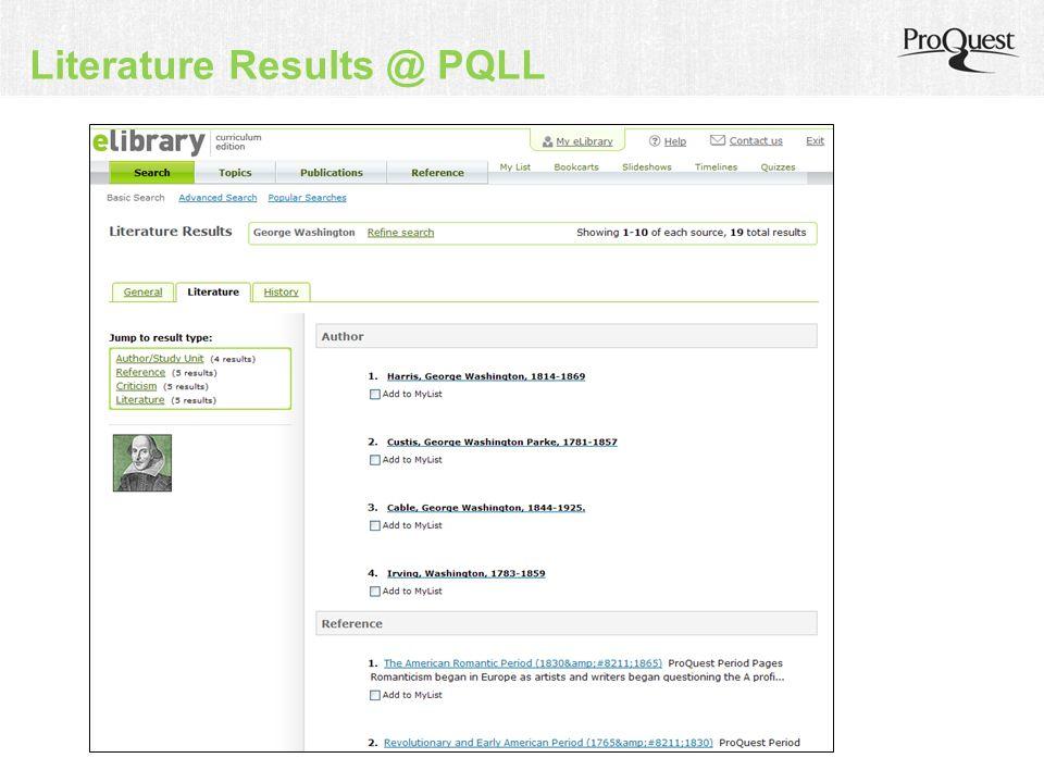 Literature Results @ PQLL