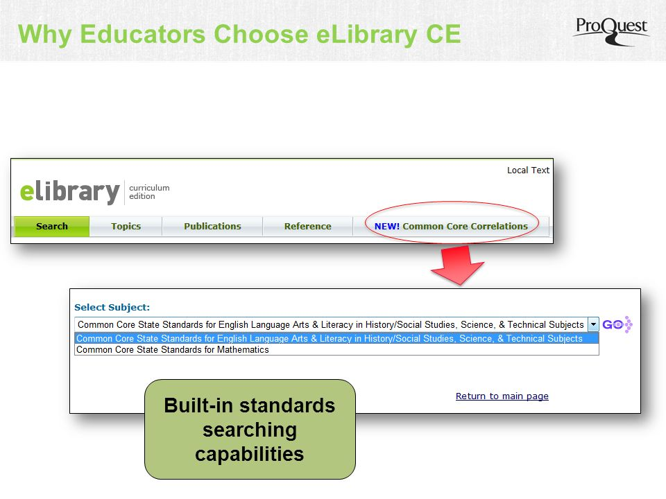 Why Educators Choose eLibrary CE Built-in standards searching capabilities