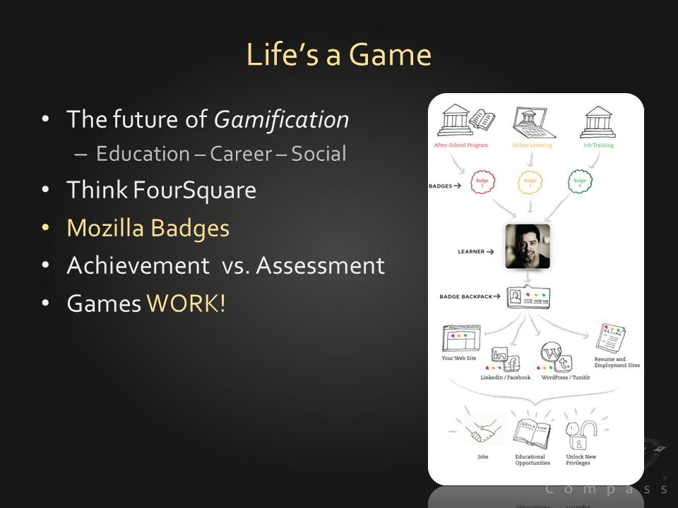 Lifes a Game The future of Gamification – Education – Career – Social Think FourSquare Mozilla Badges Achievement vs.