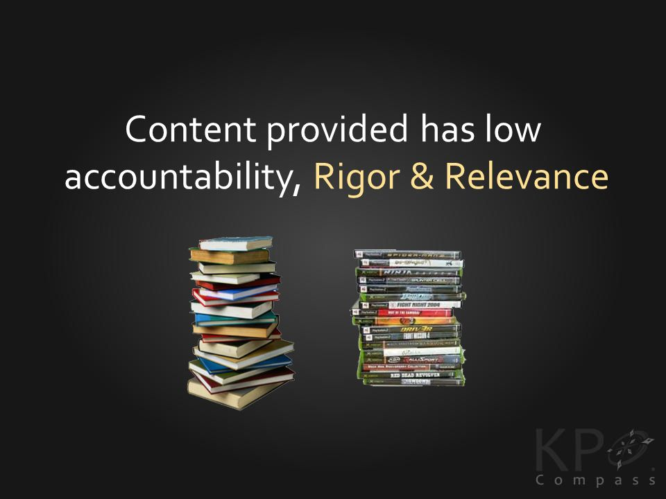 Content provided has low accountability, Rigor & Relevance