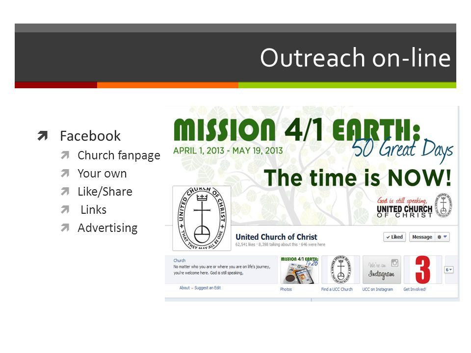 Outreach on-line Facebook Church fanpage Your own Like/Share Links Advertising