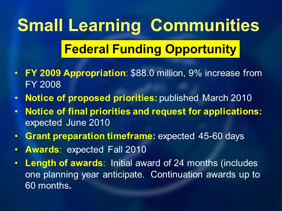 FY 2009 Appropriation: $88.0 million, 9% increase from FY 2008 Notice of proposed priorities: published March 2010 Notice of final priorities and requ