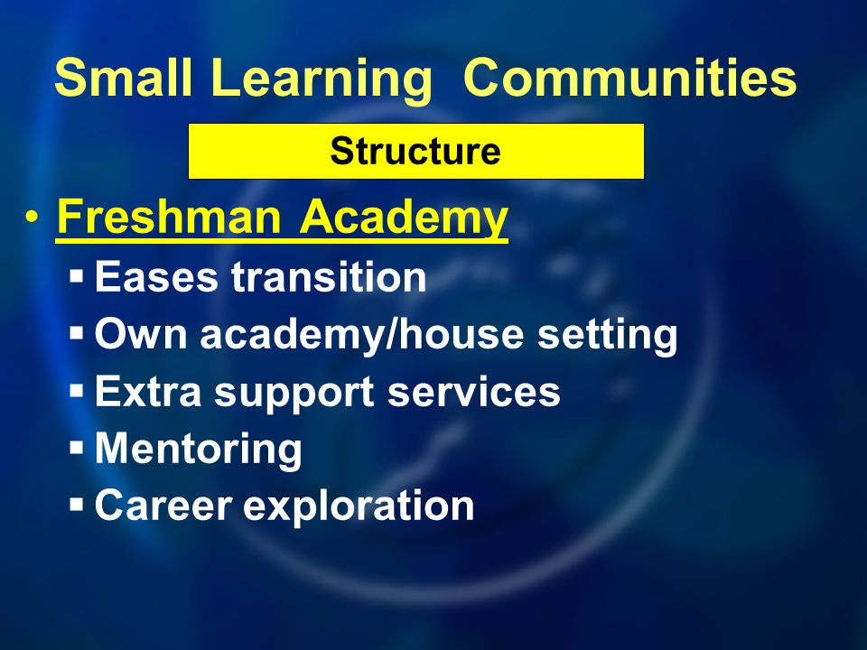Freshman Academy Eases transition Own academy/house setting Extra support services Mentoring Career exploration Structure Small Learning Communities