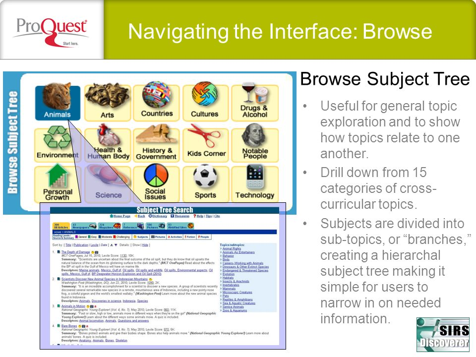 Navigating the Interface: Browse Useful for general topic exploration and to show how topics relate to one another.