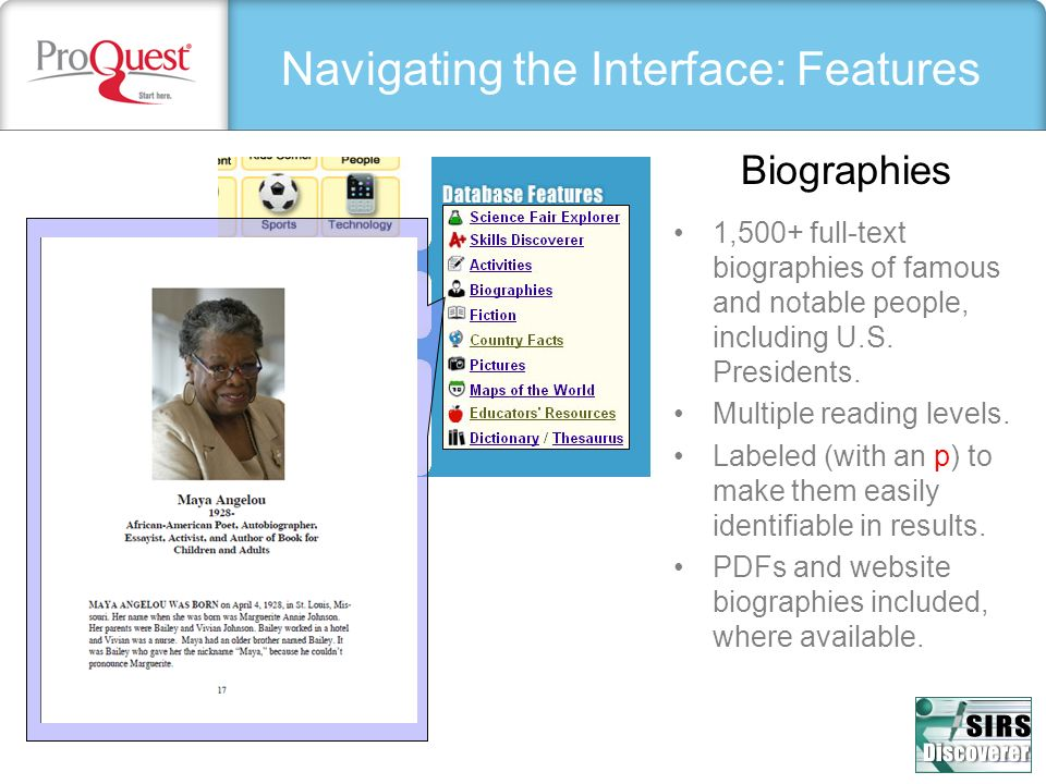 Navigating the Interface: Features 1,500+ full-text biographies of famous and notable people, including U.S.