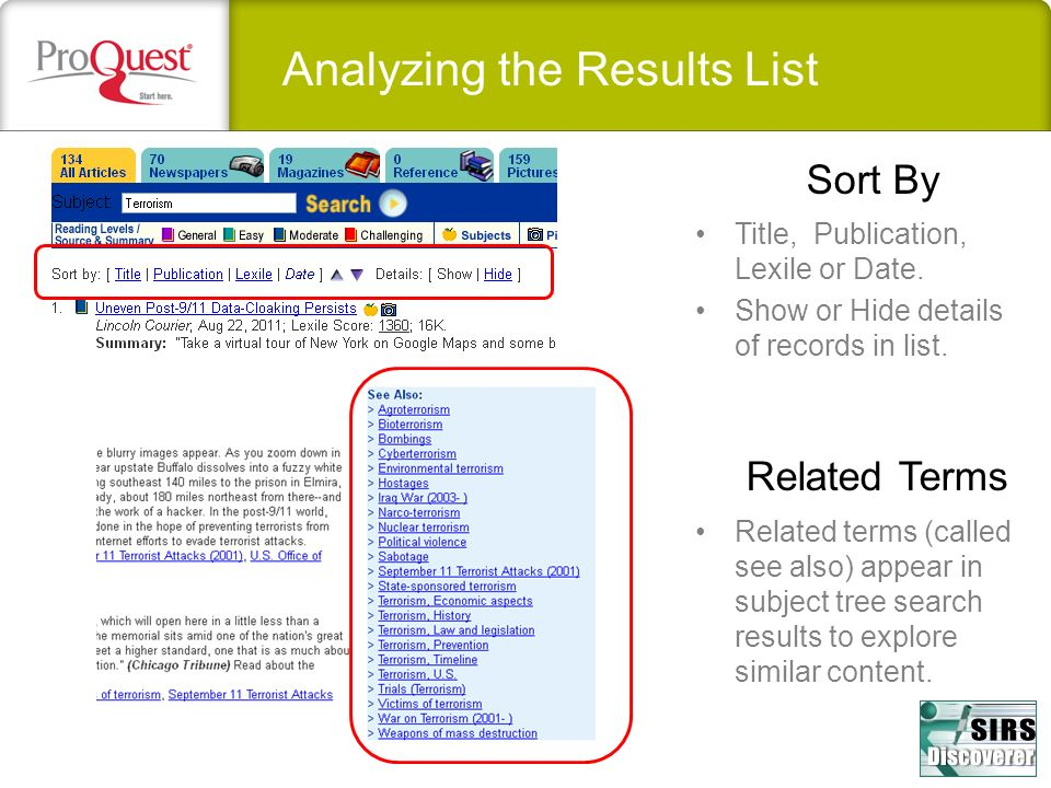 Sort By Title, Publication, Lexile or Date. Show or Hide details of records in list.