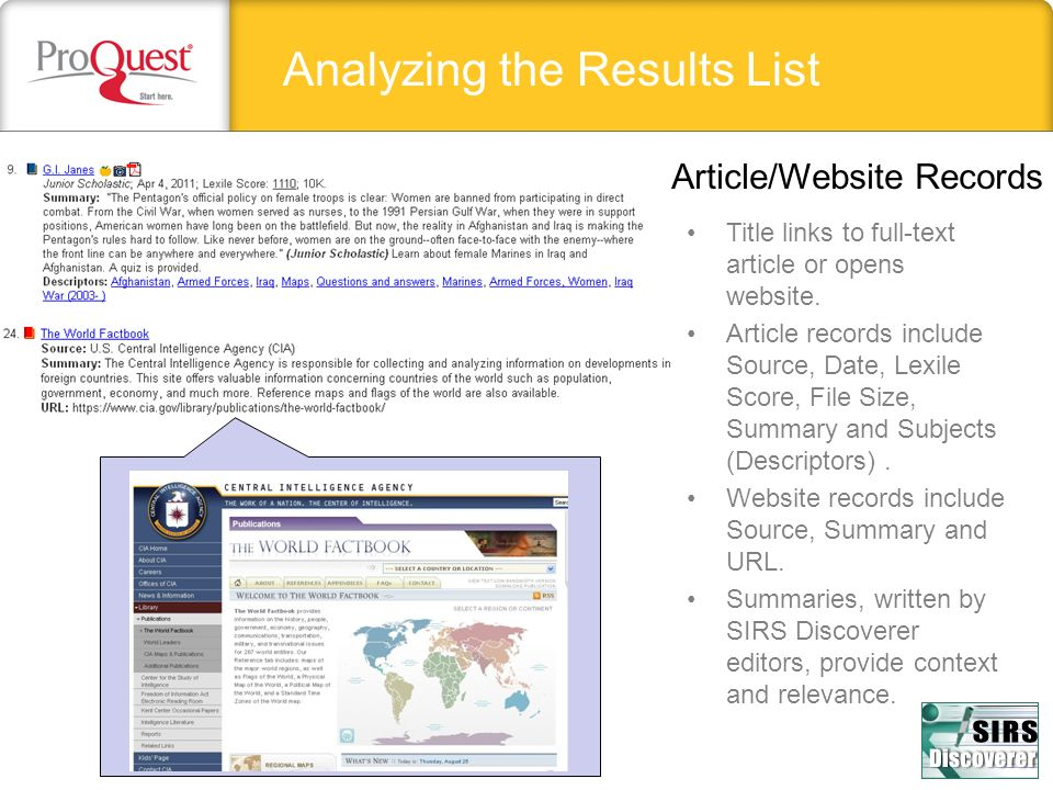 Analyzing the Results List Article/Website Records Title links to full-text article or opens website.
