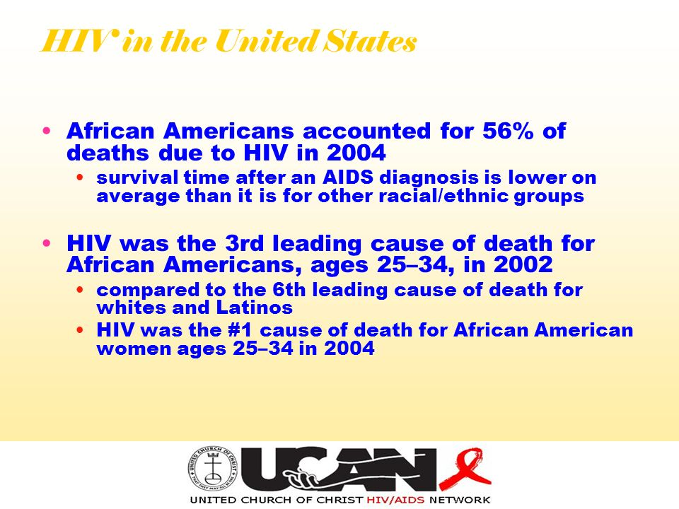 HIV in the United States African Americans accounted for 56% of deaths due to HIV in 2004 survival time after an AIDS diagnosis is lower on average than it is for other racial/ethnic groups HIV was the 3rd leading cause of death for African Americans, ages 25–34, in 2002 compared to the 6th leading cause of death for whites and Latinos HIV was the #1 cause of death for African American women ages 25–34 in 2004