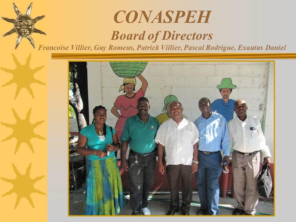 CONASPEH Board of Directors Francoise Villier, Guy Romeus, Patrick Villier, Pascal Rodrigue, Exautus Daniel