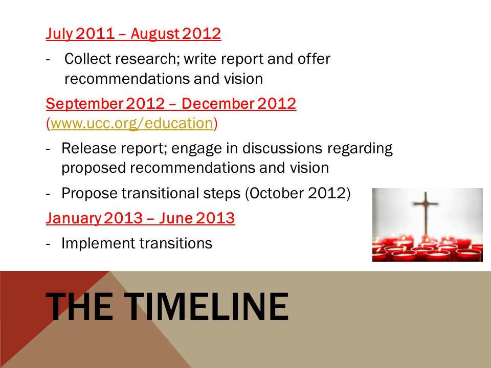 THE TIMELINE July 2011 – August 2012 -Collect research; write report and offer recommendations and vision September 2012 – December 2012 (www.ucc.org/education)www.ucc.org/education -Release report; engage in discussions regarding proposed recommendations and vision -Propose transitional steps (October 2012) January 2013 – June 2013 -Implement transitions