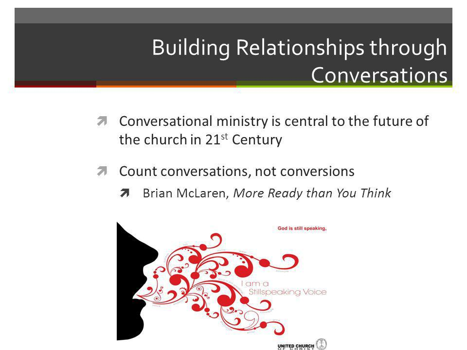 Conversational Ministry The postmodern world calls for disciples who reach out to a world that is hungering for good conversation about faith, values, hope, meaning, purpose, goodness, beauty, truth, life after death, life before death and God.
