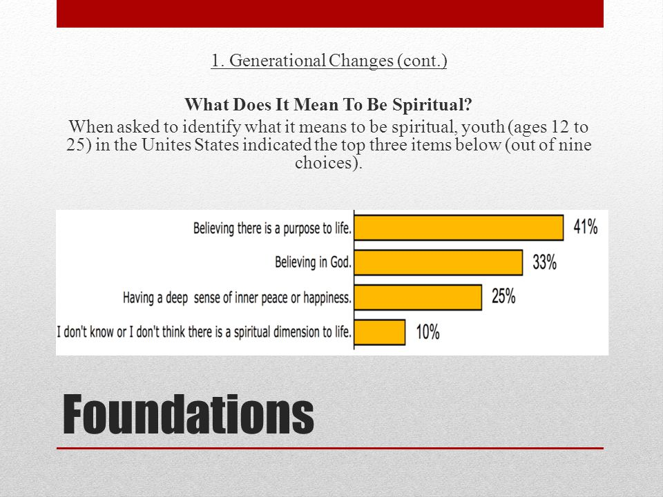 Foundations 1. Generational Changes (cont.) What Does It Mean To Be Spiritual? When asked to identify what it means to be spiritual, youth (ages 12 to