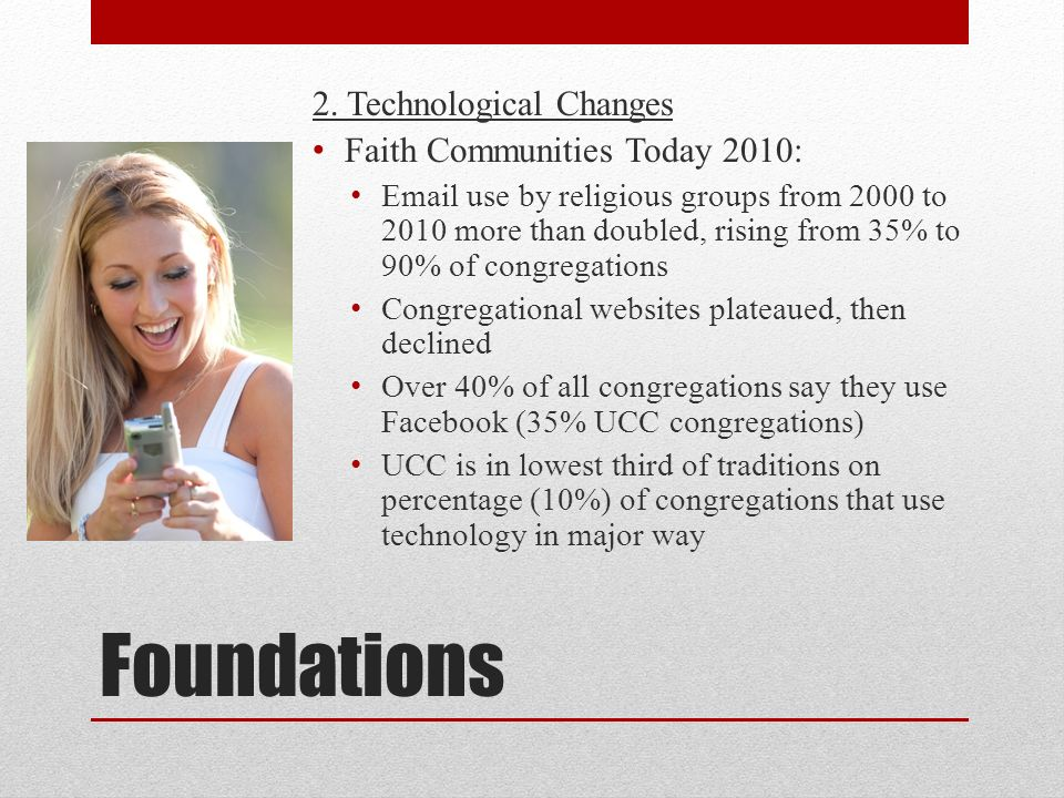 Foundations 2. Technological Changes Faith Communities Today 2010: Email use by religious groups from 2000 to 2010 more than doubled, rising from 35%