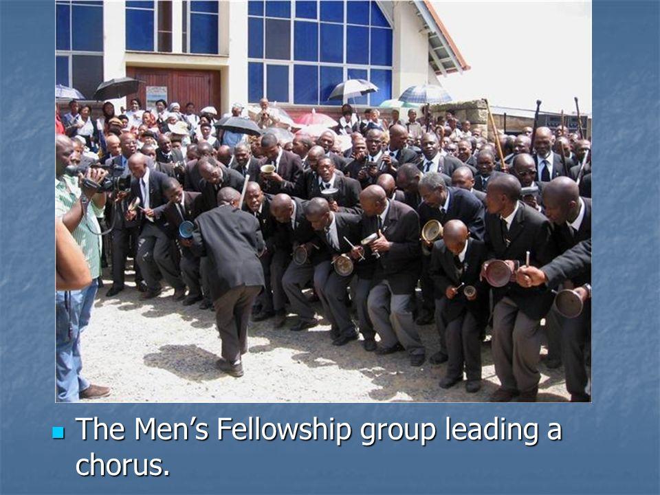 The Mens Fellowship group leading a chorus. The Mens Fellowship group leading a chorus.